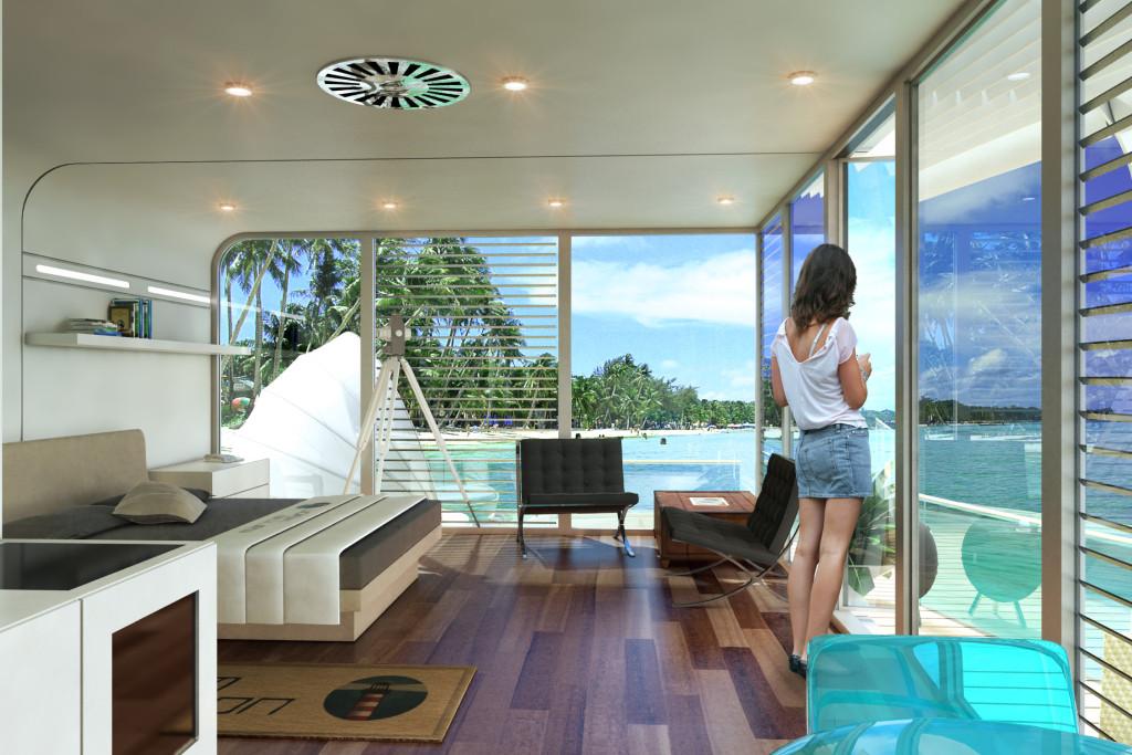Hausboot livingroom in Wien