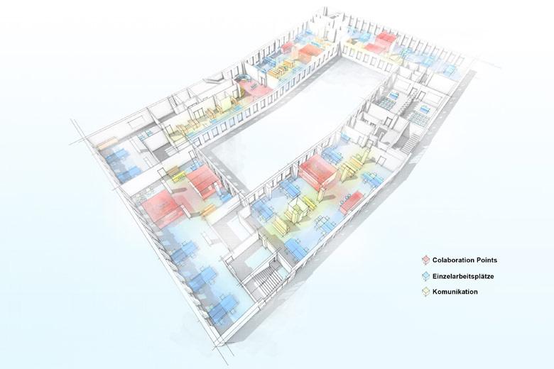 Office Grundriss Bosch in Stuttgard