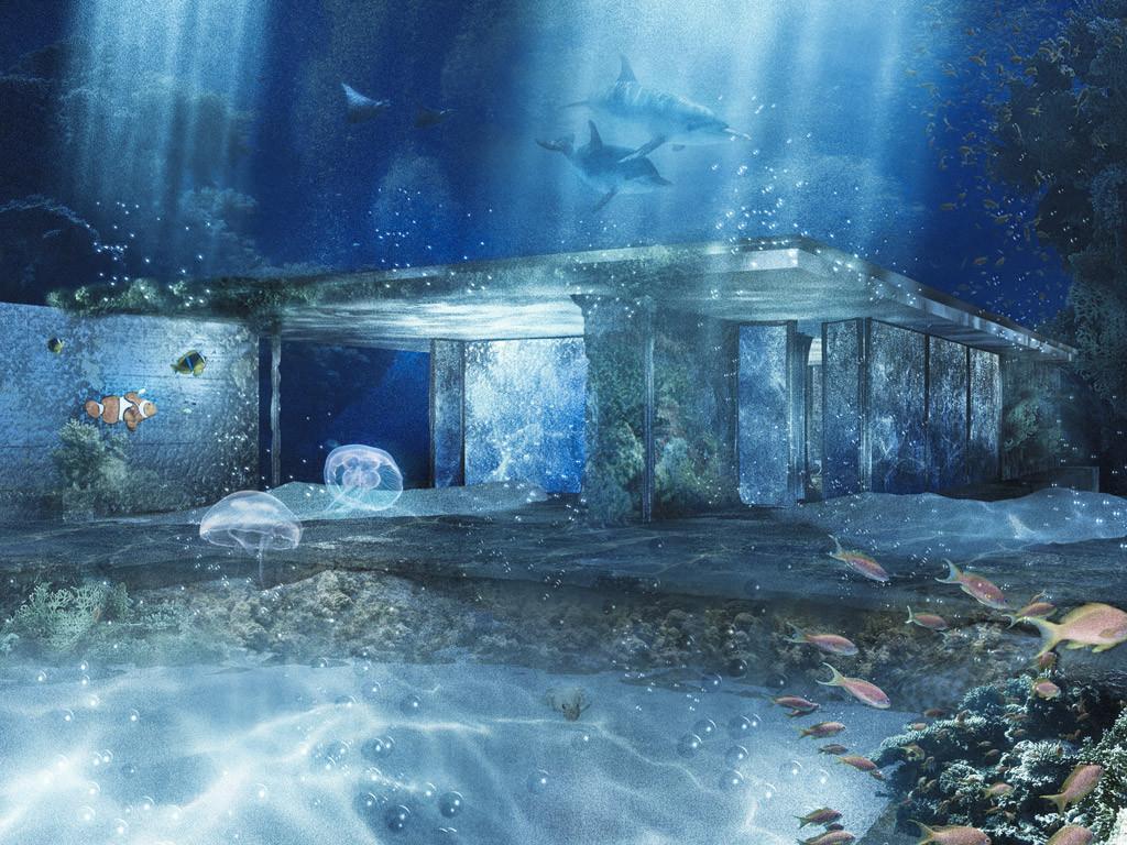 Barcelona Pavillon - unter Wasser