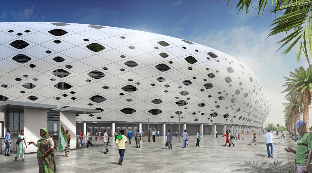 Uyo Fußball Stadion in Afrika - Eingang