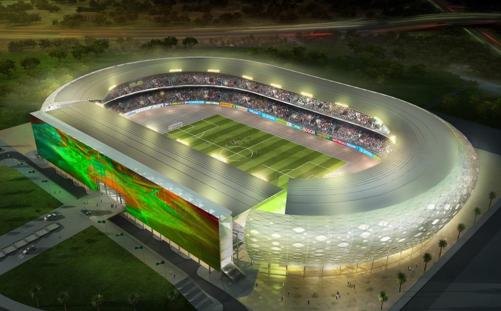 Uyo Fußball Stadion in Afrika - Nacht von Oben