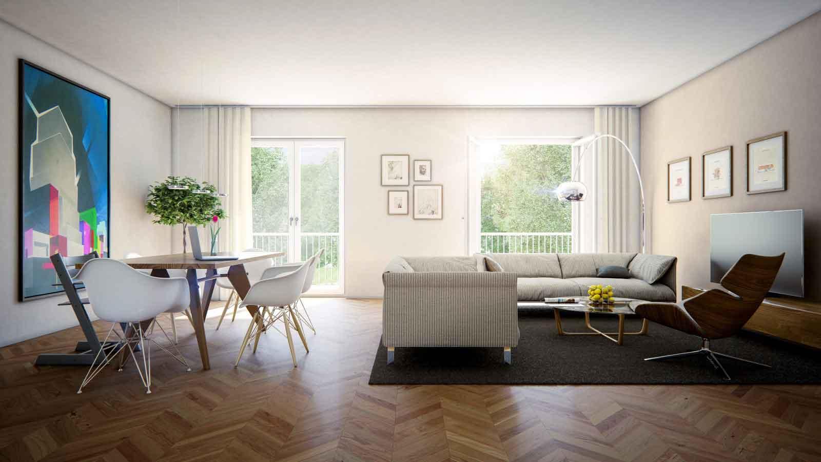 Etagenwohnung in Magdeburg - Architekturvisualisierung Innenraum