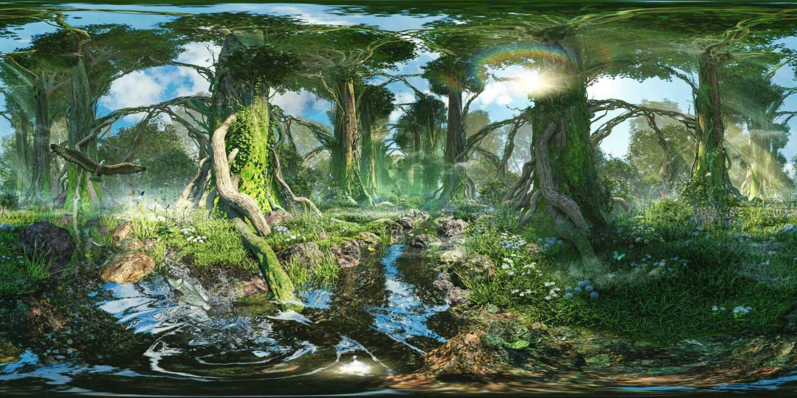 cathedral of woods - Illustration Artwork für die Oculus Rift 360 Grad