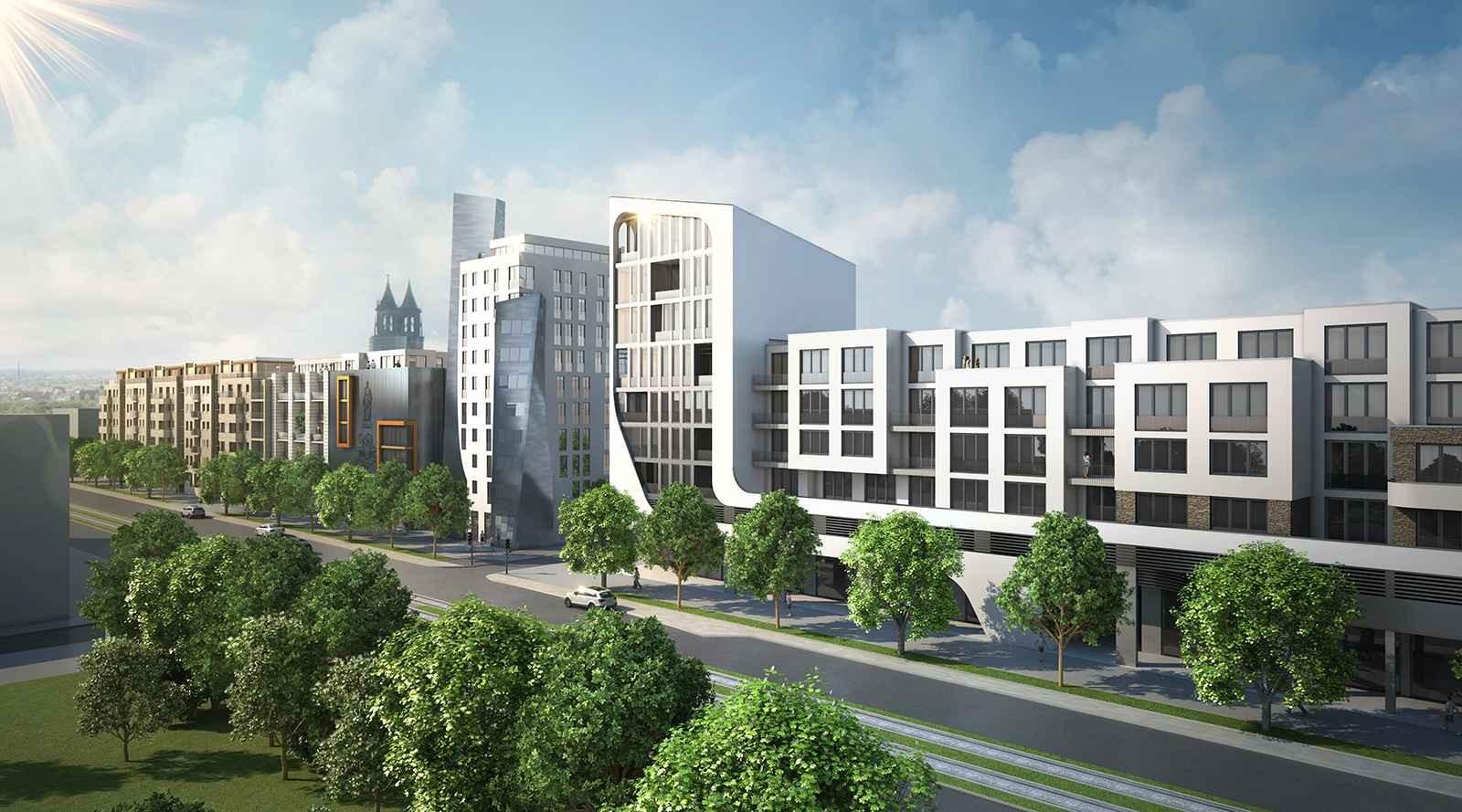 Bebauung MWG im Bereich Breiter Weg 261/262 Magdeburg - Architekturvisualisierung  Aussen