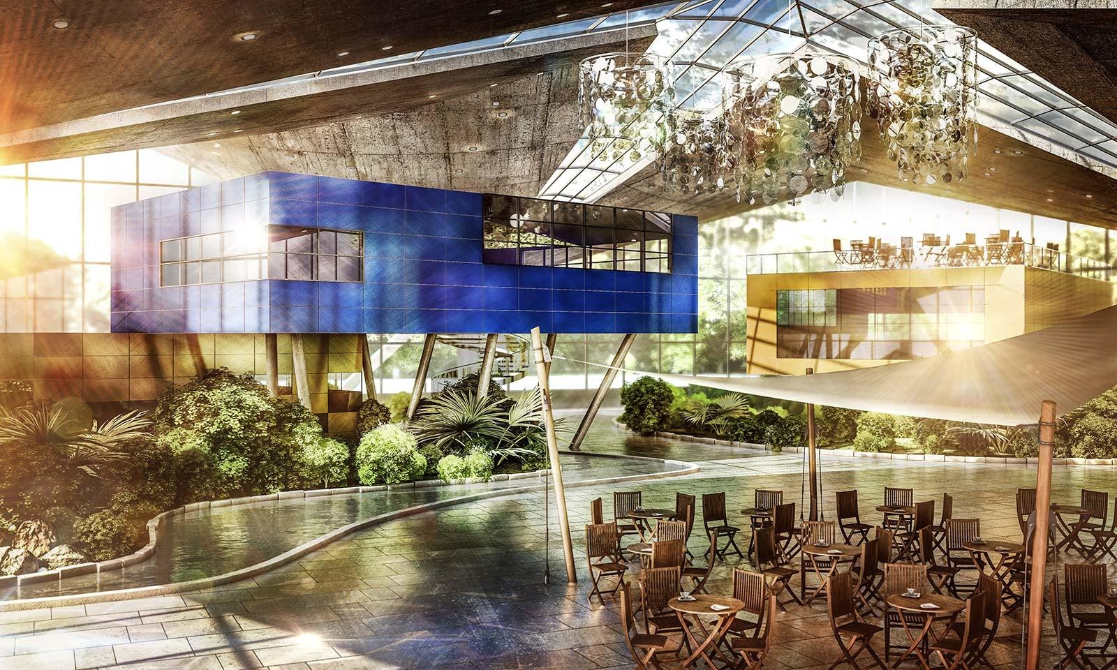 Hyparschale - Architekturvisualisierung Innen