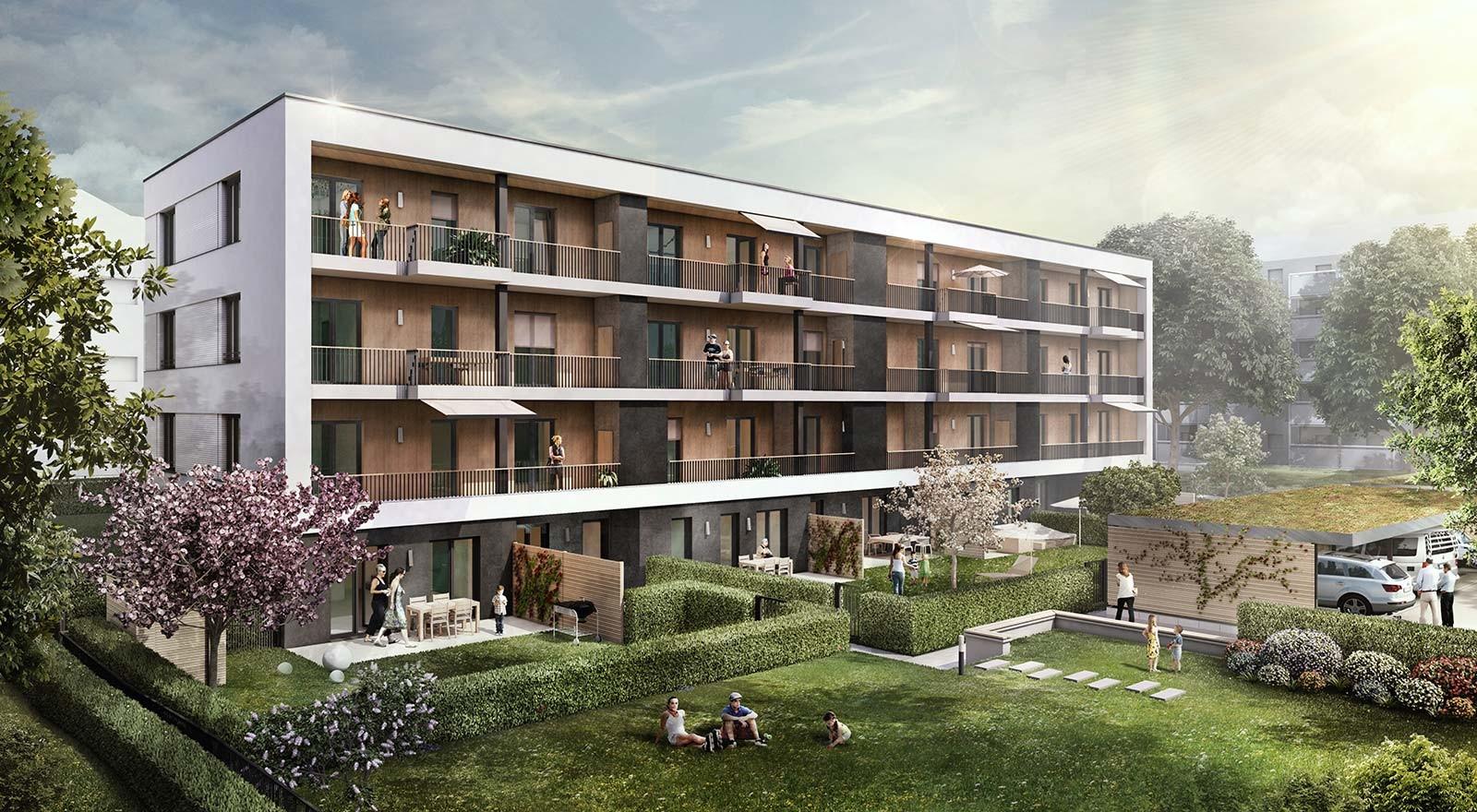 Mehrfamilienhaus in Magdeburg - Architekturvisualisierung  Aussen - Gartengestaltung