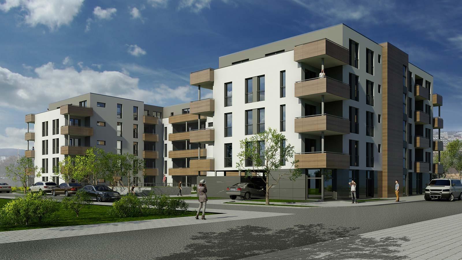 Ansicht Bamberg - Holzfassade - Architekturvisualisierung  Aussen