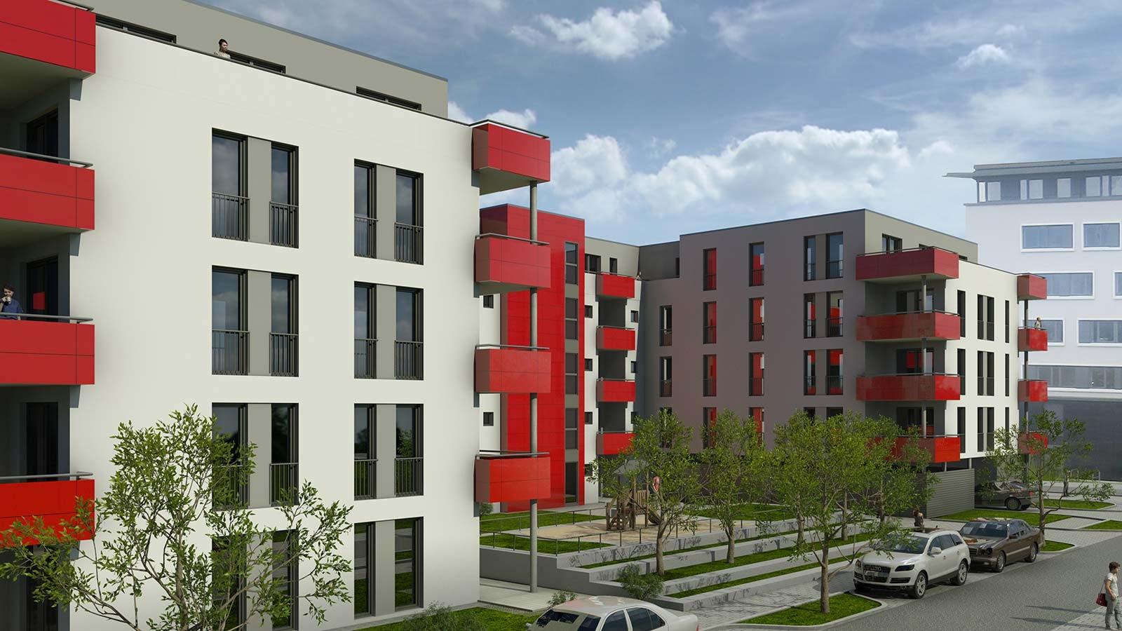 Ansicht Bamberg - rote Panele - Architekturvisualisierung  Aussen
