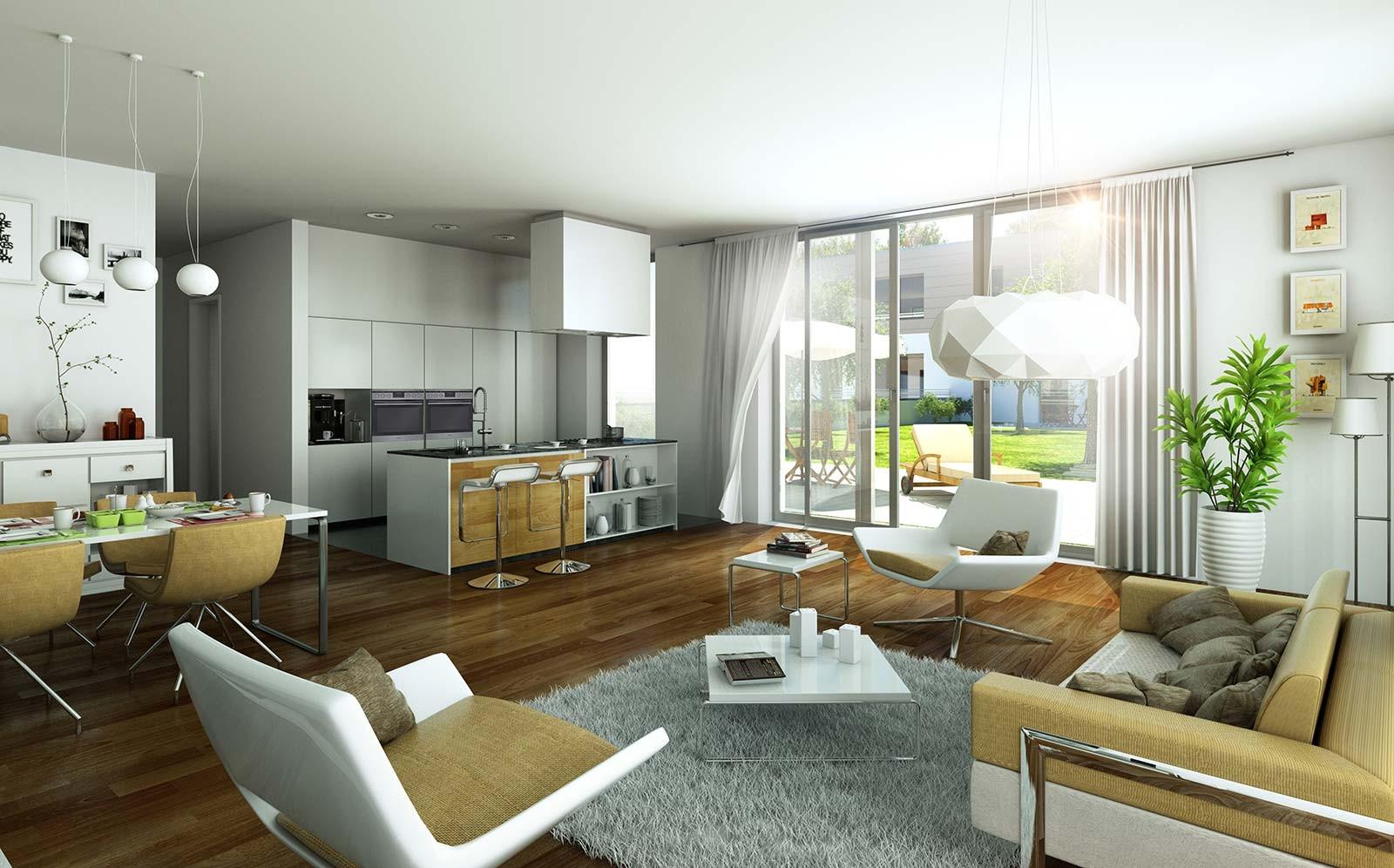 Wohnzimmer in Potsdam - Architekturvisualisierung Innenraum