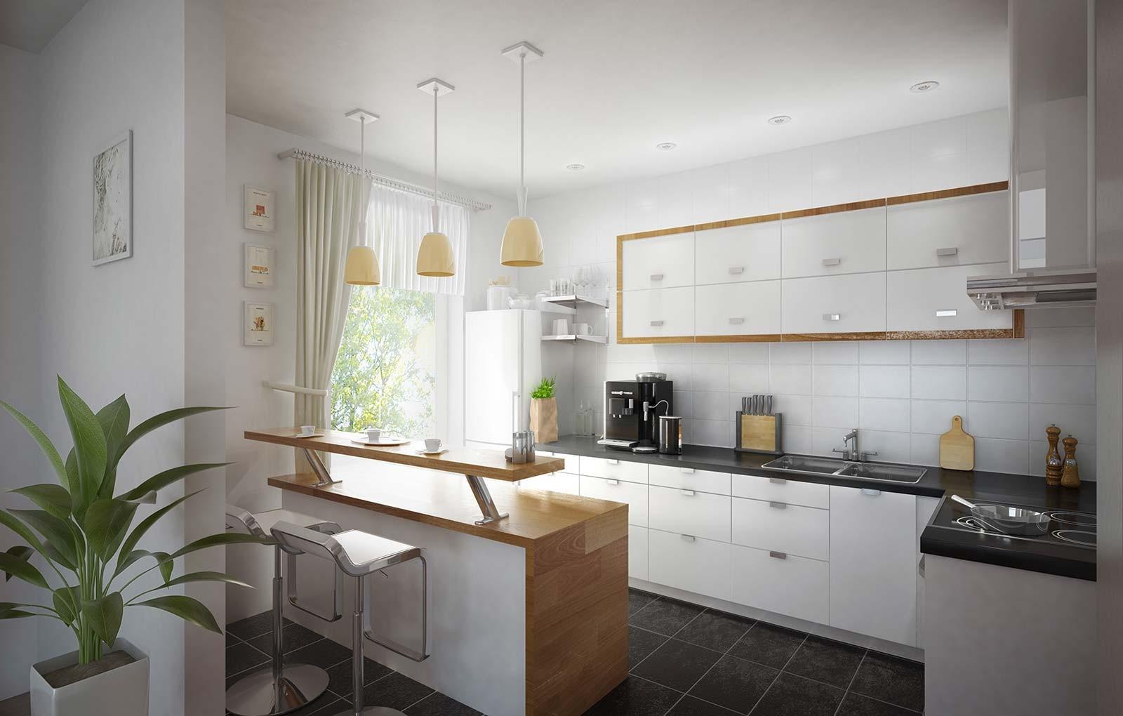Küche mit Bar - Architekturvisualisierung Innenraum