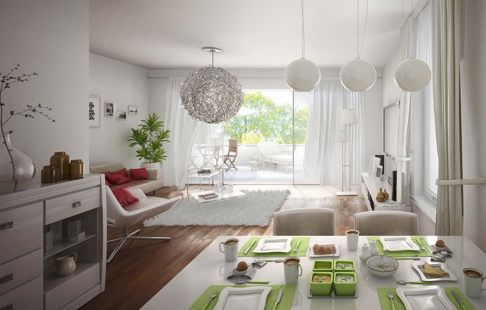 Wohnzimmer Loft - Architekturvisualisierung Innenraum