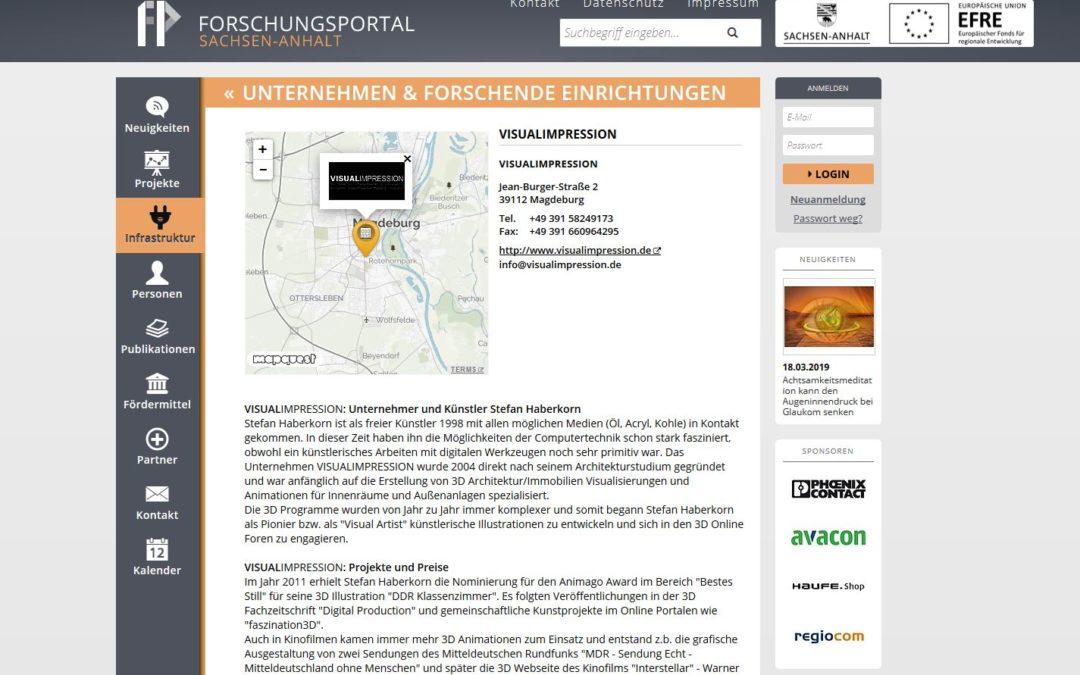 Aufnahme Forschungsportal Sachsen-Anhalt