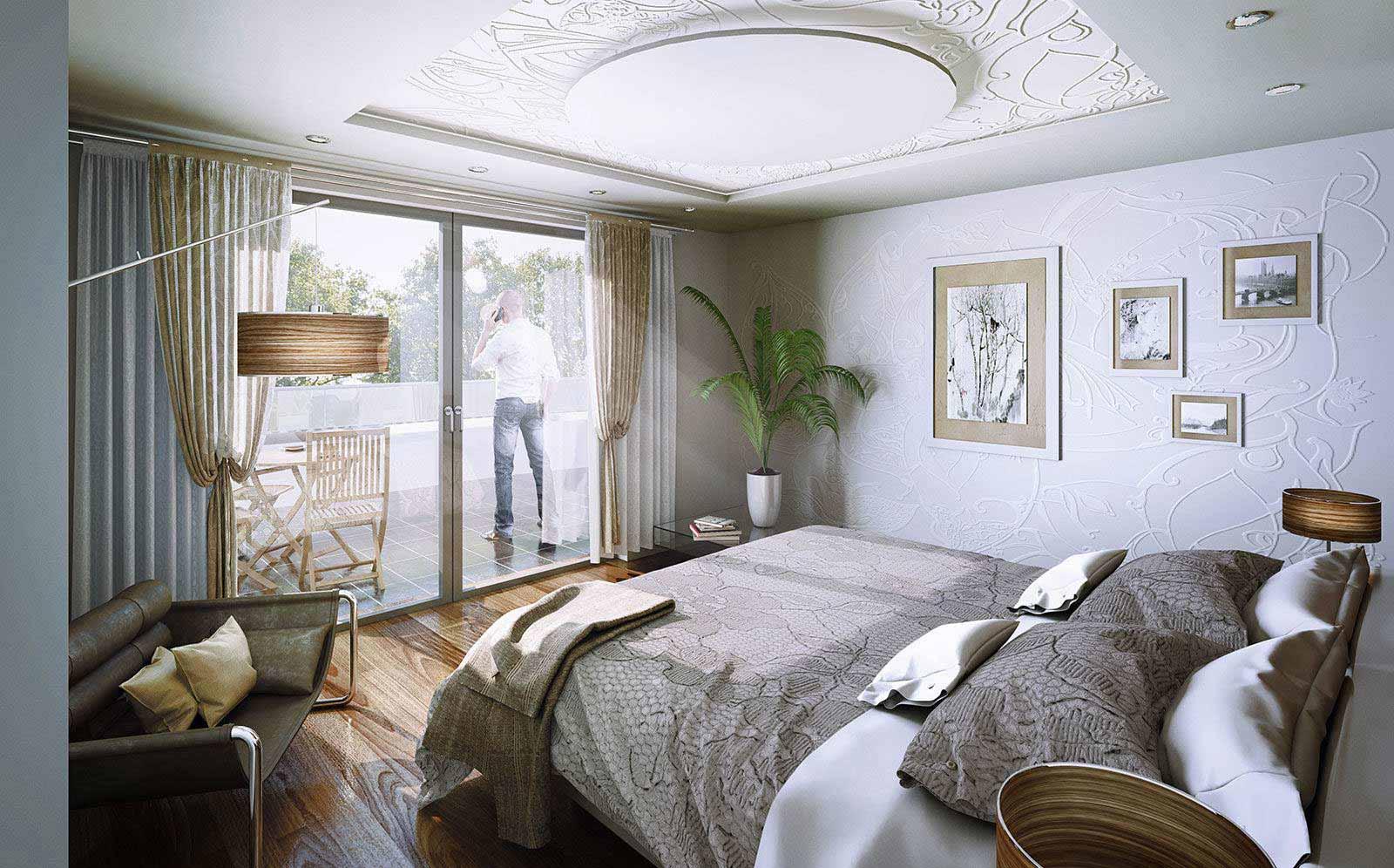 Schlafzimmer Design Variante - Architekturvisualisierung Innenraum