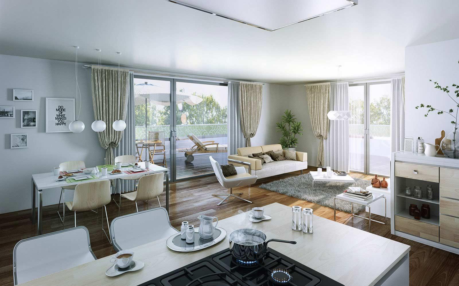 Wohnzimmer Kochstelle - Architekturvisualisierung Innenraum