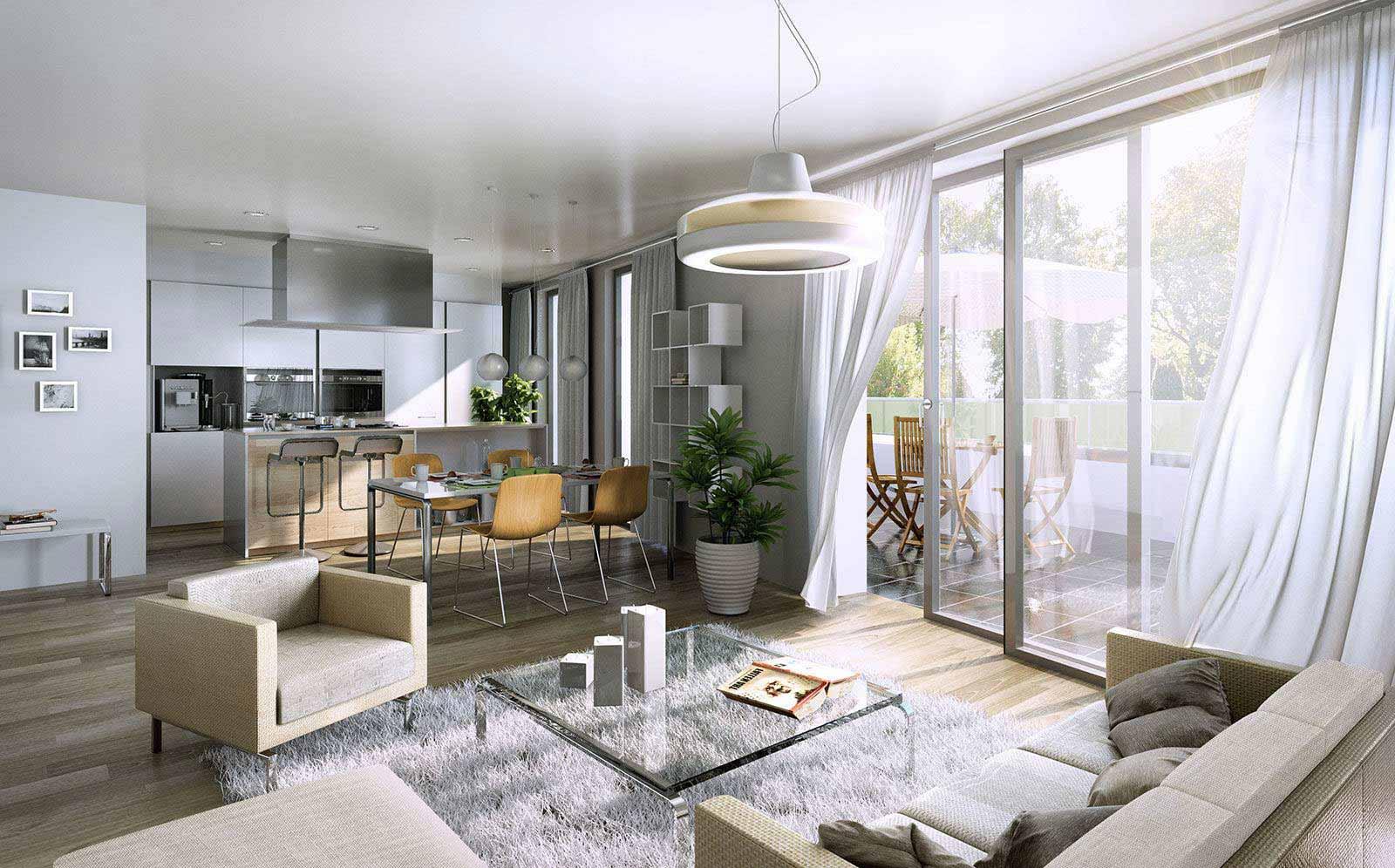 Wohnzimmer-Küche - Architekturvisualisierung Innenraum