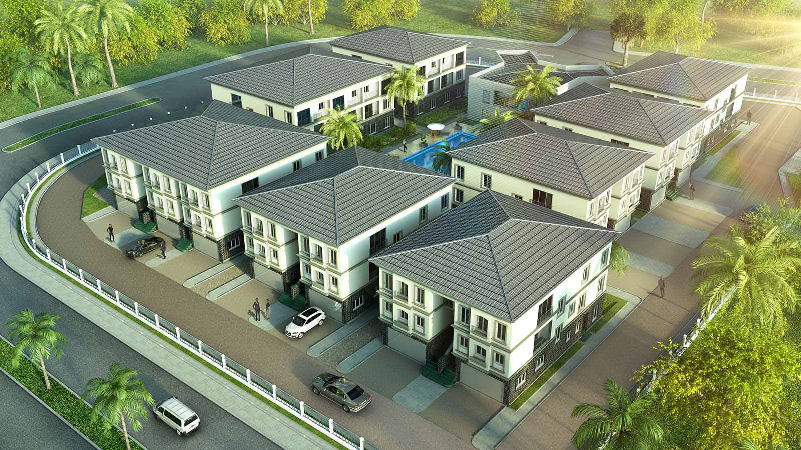 Wohnanlage in Lagos - Architekturvisualisierung  Aussen