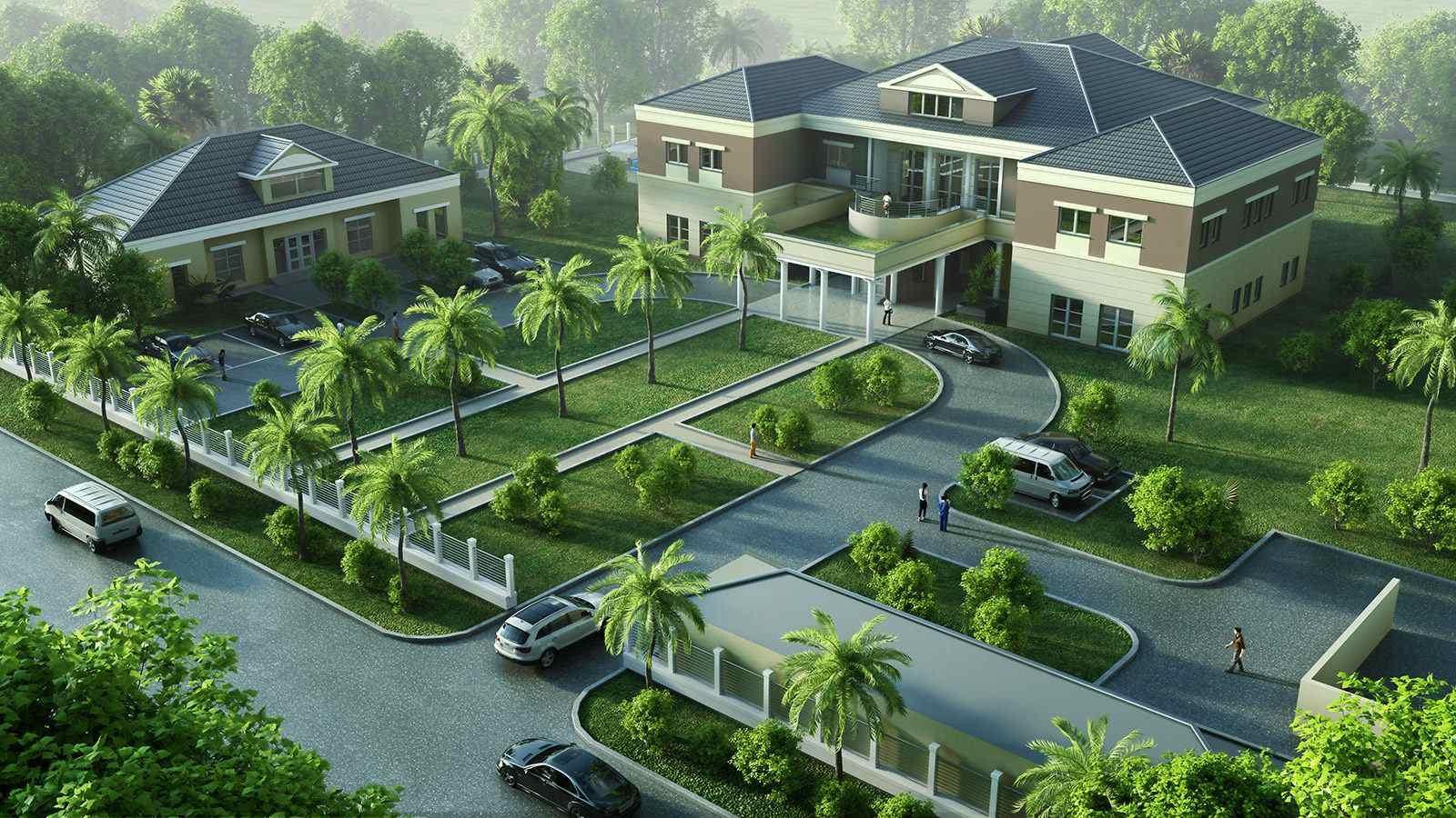 Villa Straßenseite - Architekturvisualisierung  Aussen