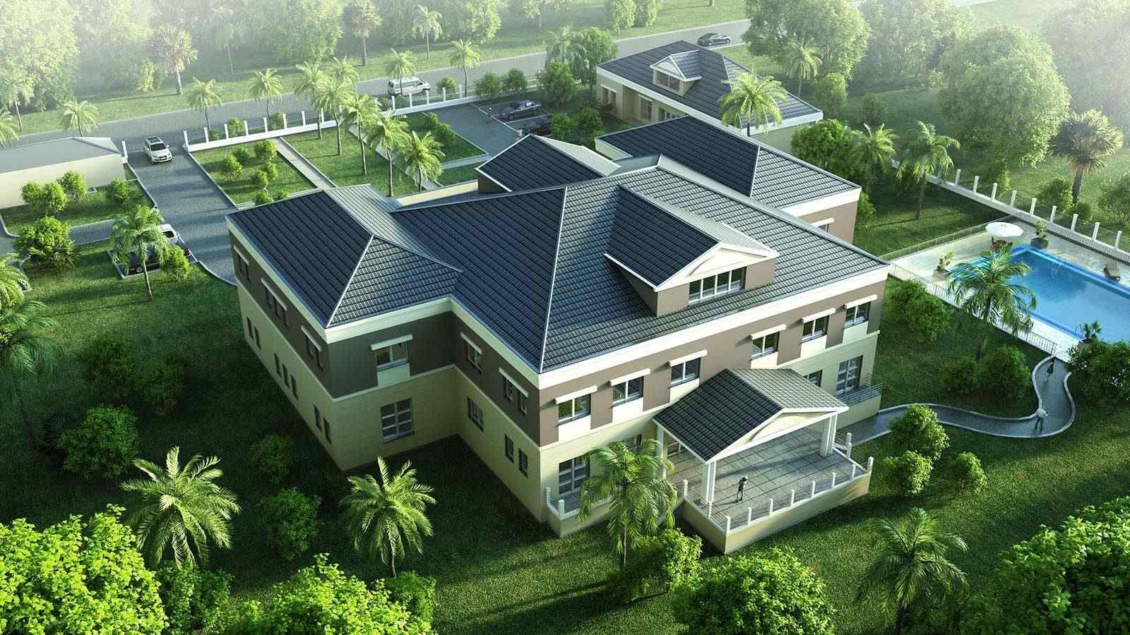Villa Gartenseite - Architekturvisualisierung  Aussen