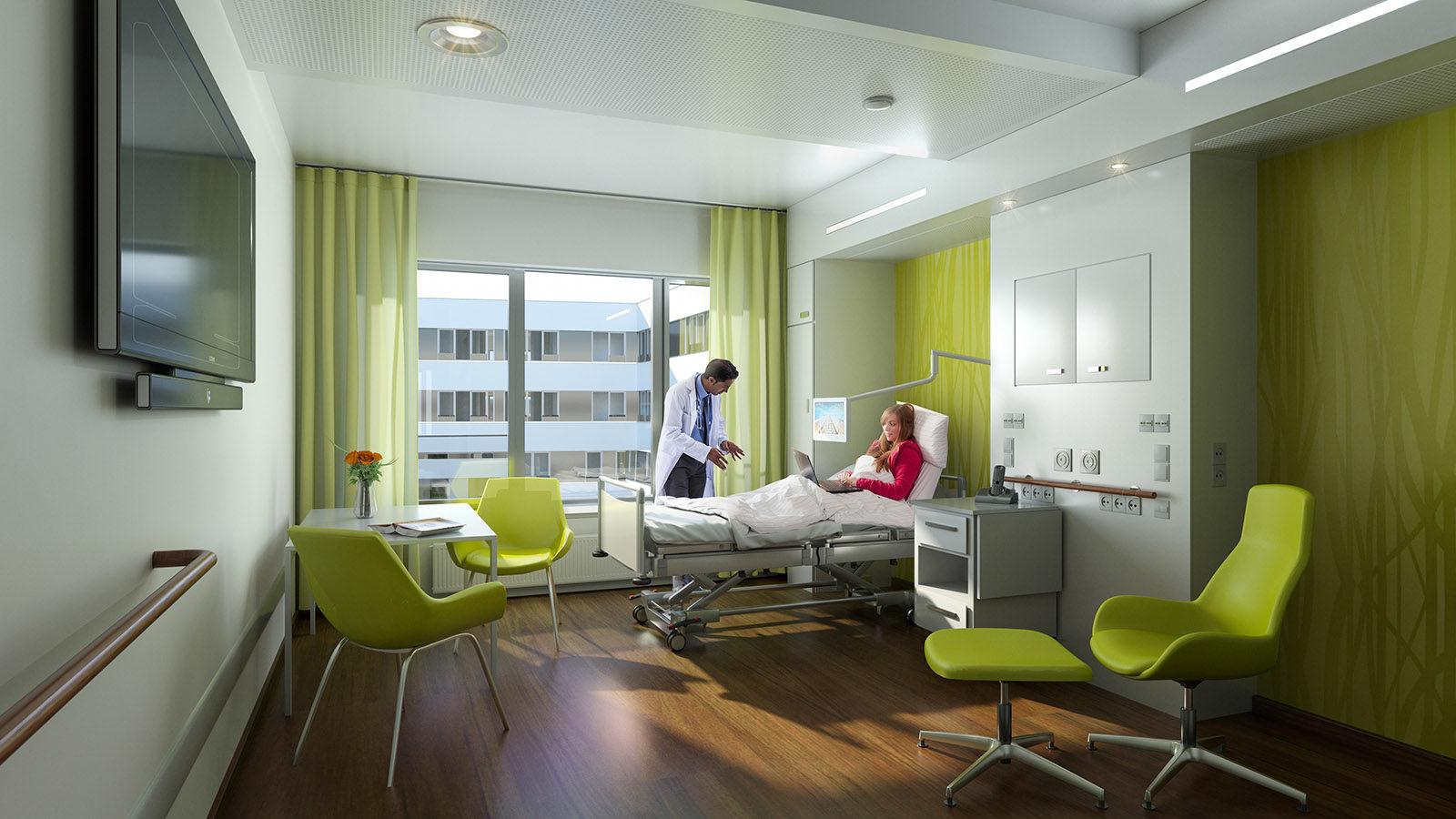 Krankenhaus Bettenzimmer - Architekturvisualisierung Innenraum