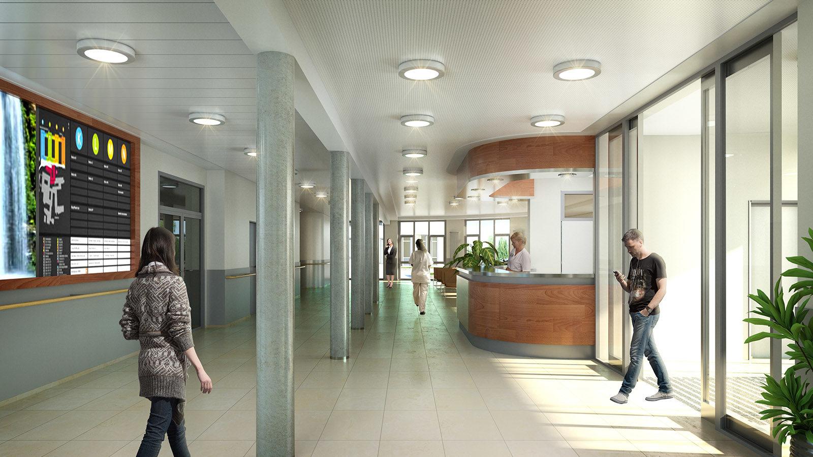 Krankenhaus Eingang - Architekturvisualisierung Innenraum